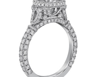 Round cut micropave set antique style diamond engagement ring with migrain R195