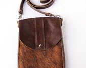 DAKOTA Cow Hide Crossbody Bag - Brindle Hair on Hide - Brown Leather - Leather Messenger Bag - Small Crossbody - Womens Handmade Handbags
