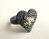 Gold Heart Ring Oxidized Silver With 18kt Gold Powder Us Size Between 8 & 8 1/4 Gold Ring