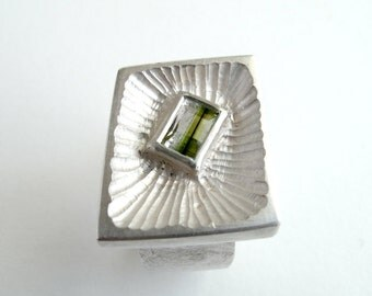 Tourmaline Ring For Men Sterling Silver Ring With Natural Olive Green Tourmaline Jewelry