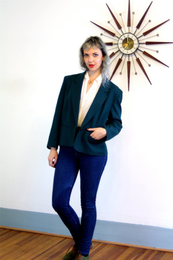 Vintage 80s PENDLETON Wool Jacket Deep Dark Emerald Preppy Ladies Blazer One Button Boxy Big Shoulder Pads Womens 1980s Short Ladies Coats