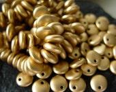 6mm Czech Lentil Glass Beads- Matte Metallic Flax (50)