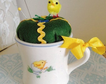 Pincushion In A Vintage Baby Mug For Spring