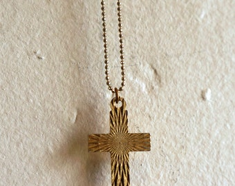 vintage gold tone CROSS faceted hologram like texture pattern design on a long ball beaded chain