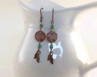 Antique Copper Feather Earrings - Turquoise Copper Earrings - Tribal Earrings - Wire Earrings - Czech Glass Earrings - Turquoise Earrings