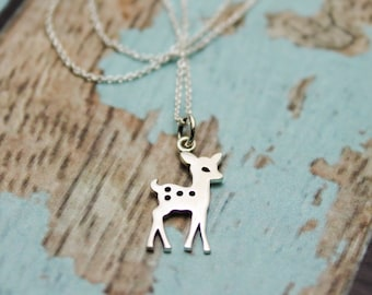 Baby Fawn Deer Charm Necklace in Sterling Silver
