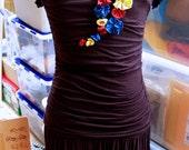 Handmade drop-waist primary color flowers LBD