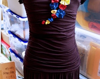 Handmade drop-waist primary color flowers LBD