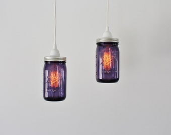 Pair of PURPLE Mason Jar Pendant Lamps - 2 Hanging Lighting Fixtures featuring 2 Purple Quart Ball Mason Jars - Upcycled BOOTSNGUS Lights