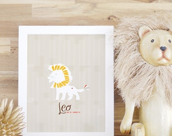 Leo Zodiac Sign Print for kids' Rooms and Baby Nurseries Leo Poster White Yellow Frame 8x10 16x20 Kids Art and Decor Nursery Art. Leo Print