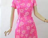 Vintage 60s Day Dress Pink Floral Silky Sheath Tea Party Dress by Dagmar Fashions Bust 40