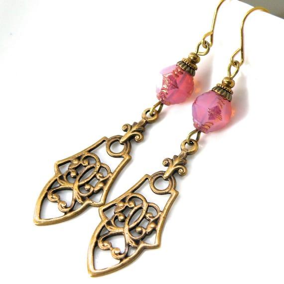 Antique Filigree earrings, vintaj brass, detailed brass filigree, Art Nouveau oxidized earrings