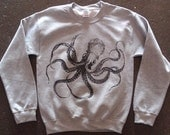 Kraken Octopus Sweatshirt Athletic Grey     M   L  or  XL