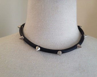 Edgy Punk inspired black spiked rubber choker necklace by Ankh by Racquel (sale)