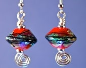 OOAK dichroic glass drop earrings by paulbead chinese red and silver jewelry  swirl and handmade lampwork beads bicones sparkle earrings