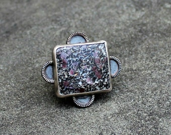 Ruby Granite Ring - Sterling Silver Ring - Ruby Silver Ring - Square Cabochon - Red Grey Ring - Ruby in Granite - Boho Ring - US size 7.5