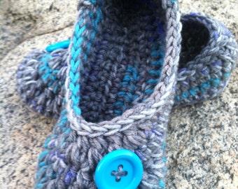 Women's Crochet Blue Slippers | Cloudy Sea Blue Crochet Slippers | Hand Crochet Slippers | House Shoes | Crochet Booties | Slippers