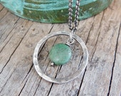 Turquoise Hoop Necklace, Sterling Silver, Blue Green Gemstone Bead, Circle of Silver Pendant