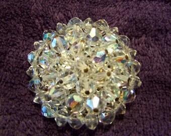 Vintage Swavorski Crystal Bead Silver Metal Circle Brooch Pin, Clear Glass Wedding Bridal Costume Jewelry