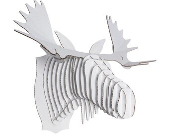 cardboard safari fred cardboard moose head xl white