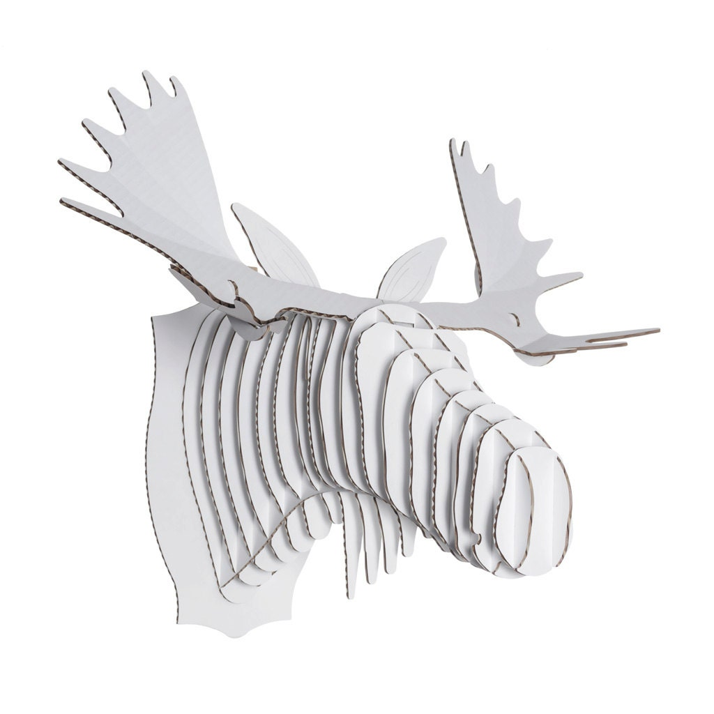 Cardboard safari fred cardboard moose head xl white - Cardboard moosehead ...