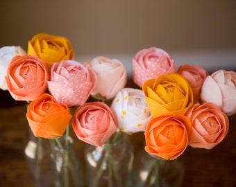 Set of 3 fabric flowers - cotton anniversary gift, flower anniversary flowers, gifts for mom, birthday gift