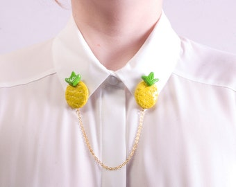 Pineapple CollarClips. Tropical Cardigan clips. Polymer Clay Jewellery. Fruit Collar clip. Collar Tips. Sweater Clips. Statement Jewellery.