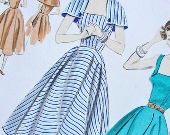 """UNCUT * 1950s Vogue  Pattern 7706  * GORGEOUS  Misses'  One Piece Sundress and Capelet """"easy to make""""  - FF - Size 18 - Bust 36"""