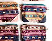 Southwestern clutch, fabric and leather in pink and navy