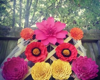 Weddings Large Handmade Paper Flowers 6 to 14 inches Great for Photo Backdrop Custom Colors