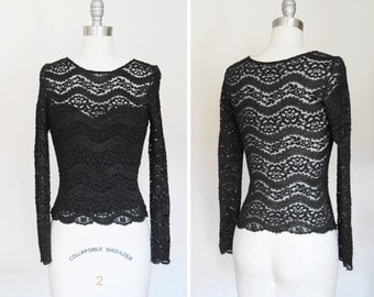 Vintage Sweetheart Black Lace Tight Fitted Sheer Blouse sz XS - Small