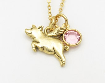 Pig with Wings Necklace, Flying Pig Charm, When Pigs Fly Necklace, Antique Gold Flying Pig Charm, Animals and Pets Charm Necklace B025
