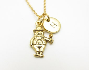 Leprechaun Necklace, Gold Leprechaun with Personalized Initial, Lucky Charms, St Patrick's Day, Irish Folklore, Monogram Necklace, Z114