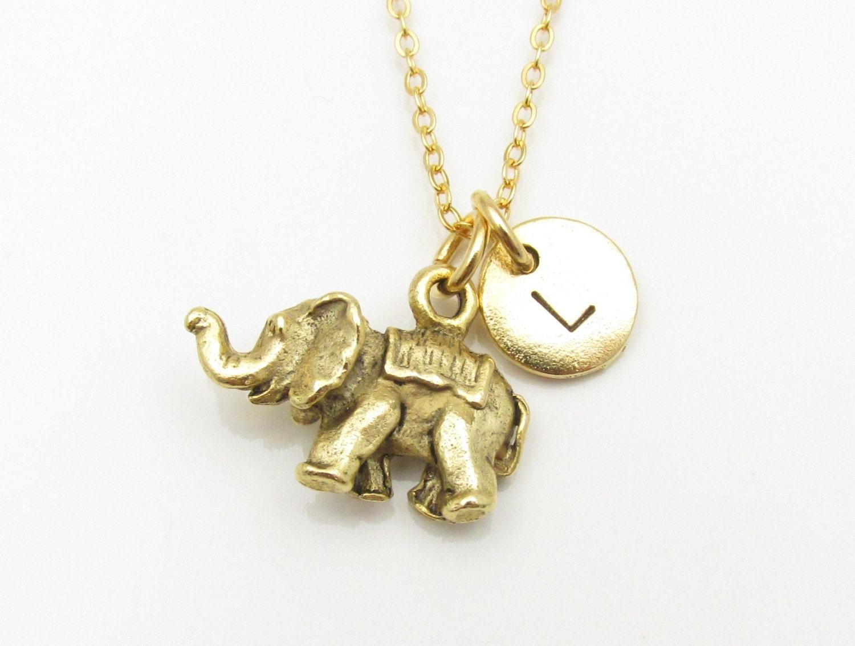 elephant necklace gold elephant charm with personalized