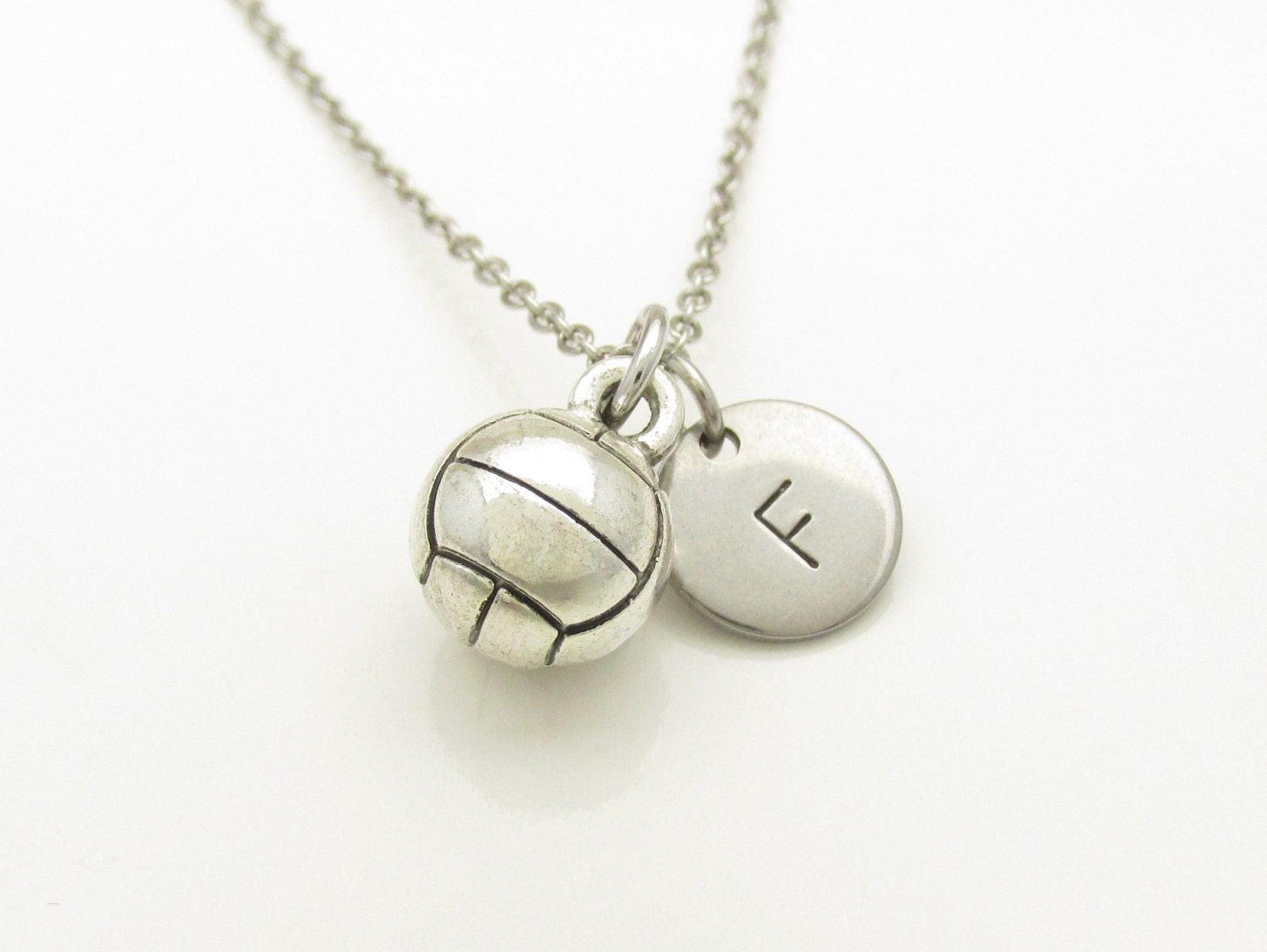 volleyball necklace volleyball charm initial necklace