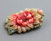 Antique Japanese Lotus Flower Brooch / Molded Celluloid Pin