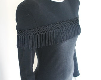 Vintage 1980s Black Knit Broad Shouldered Dress with Fringe Trim