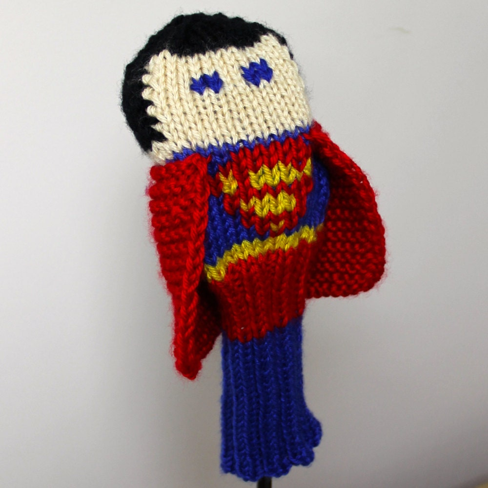 Knitting Pattern Golf Driver Cover : Superman Golf Headcover Golf Club Cover Golf Head Cover