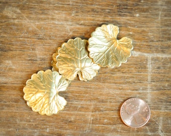 2 Metal Leaf Brass Stamping Findings Craft Projects Jewelry Design Scrapbook Embelishment Mixed Media Arts and Crafts