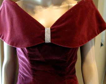 HOUSE OF BIANCHI - Formal Wine-Colored Custom Evening Gown - Size 8