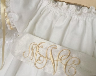 White Dedication Dress Baby and Older Girl Heirloom Monogrammed Sash Dress Juvie Moon Designs