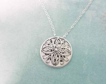 Secret message Necklace Sterling Silver Flower Filigree - Your Secret Message Necklace - Pendant Mother Wife Girlfriend Sister best friend