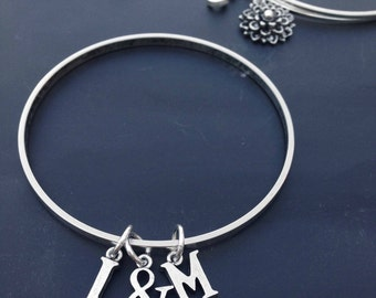 Bangle Bracelets with Custom Letters  2 3 4 5 6 7 8 9 10 Silver
