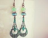 Bohemian style green glass and patina dangle earrings -- Charlotte Divine