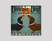 custom Double DACHSHUND Wiener Dog Brewing Company graphic art Stretched Canvas Wall Art  SIGNED