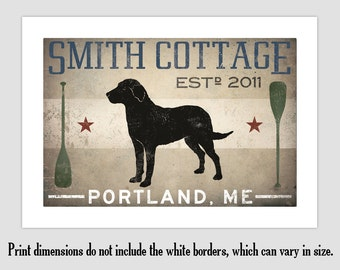 Golden Labrador LAKE COTTAGE Dog CUSTOM Personalized Graphic Art Print Signed