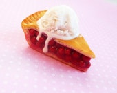hot cherry pie with ice cream polymer clay magnet