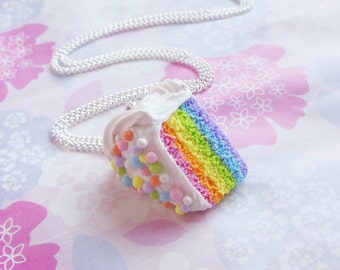 Polymer Clay Pastel Rainbow Cake Slice Necklace With Sprinkles