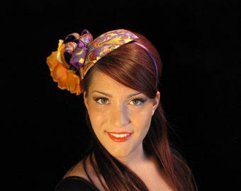 Perky little Purple Fascinator| Paisley Fascinator| Orange Fascinator| Paisley Hat| Church Hat| Orange Rose Hat| Derby Hat| Hat on headband