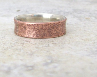 Copper Distressed Ring Silver Liner Rustic Wedding Band Mens Wedding Rings Wedding Bands- Relic Artifact